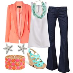 I love the Coral Blazer! I need this outfit and a trip to the beach! Looks Chic, Looks Style, Style Me, Pink Style, Classic Style, Coral Blazer, Coral Jacket, Peach Blazer, Orange Blazer