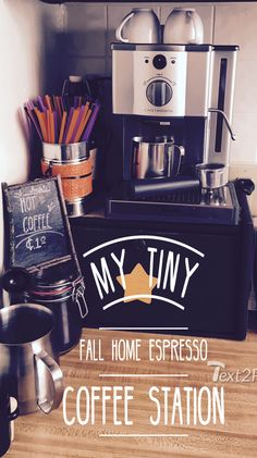 This is my little coffee station and I'm in love. It's a great feeling to have a dedicated space to experiment and create, and it's no different with a thriving coffee obsession.  The machine is a Breville Caffe Modena and everything else was under a dollar.  Simply wonderful.