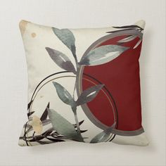 Cream & Burgundy Earthy Zen Watercolor Leaves Throw Pillow - tap, personalize, buy right now! #ThrowPillow #burgundy #watercolor #leaves #cream #and Watercolor Leaves, Watercolor Pattern, Abstract Watercolor, Abstract Pattern, Modern Decorative Pillows, Modern Throw Pillows, Accent Pillows, Modern Color Palette, Blue Colour Palette