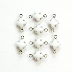 Opaque White Square Glass Stones  2 Loop Silver by yummytreasures, $3.29