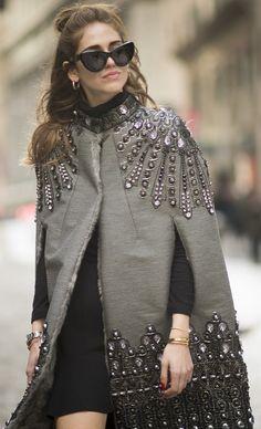 59912e07d5ab Chiara Ferragni looked chic in an embellished cape at NYFW. Chiara  Ferragni
