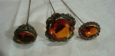 ANTIQUE LOT 3 ORNATE BRASS TOPAZ AMBER GLASS JEWELED STONE LONG HATPIN HAT PINS