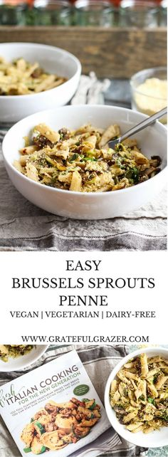 This healthy + delicious brussels sprout pasta recipe from Alex Caspero's Fresh Italian Cooking proves you can stay slim while eating pasta. via @gratefulgrazer