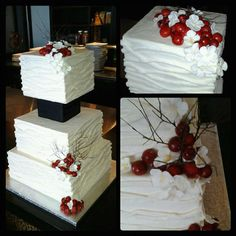 3 Tier Square 6 8 10 Buttercream Finish With Buttercream Branch Texturing Gumpastefondant Cranberries And Hydrangea Styrofoam Sep