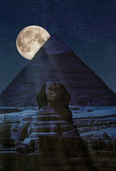 Pyramids of Giza and the Sphinx in the shadow of a full moon ☆ Cairo, Egypt Beautiful Moon, Beautiful Places, Amazing Places, Simply Beautiful, Foto Picture, Cairo Egypt, Pyramids Egypt, Oh The Places You'll Go, Ancient Egypt