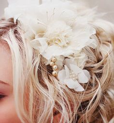 Wedding Hair Accessories- Champagne wedding hair piece -  Bridal flower headpiece   - vintage wedding. $119.00, via Etsy.