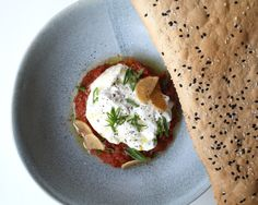Vegetarian, locally sourced and our favorite appetizer at dinner! Burrata Salad served with roasted tomatoes, wasabi and housemade sesame lavash. Burrata Salad, Roasted Tomatoes, Food Styling, Mumbai, Food Porn, Appetizers, Fresh, Dinner, Breakfast