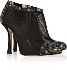 Ottavia Crystalembellished Mesh and Satin Ankle Boots - Lyst