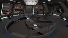 This is the bridge of the Potemkin, an Excelsior-Class starship that was mentioned several times in 'Star Trek: The Next Generation'. It was one of the previous postings of William Riker, before being XO on the Enterprise. The idea for this bridge Spaceship Interior, Futuristic Interior, Excelsior Class, Star Trek Bridge, Star Trek Uniforms, Star Trek Enterprise, Metroid, Online Portfolio, Computer