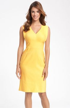 Adrianna Papell V-Neck Sheath Dress in Lemon...awesome for summer