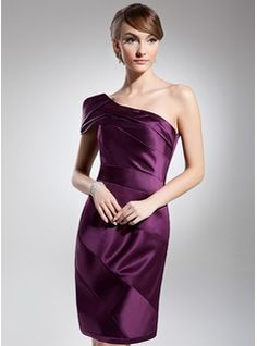 Cocktail Dresses - $128.99 - Sheath/Column One-Shoulder Knee-Length Satin Cocktail Dress With Ruffle  http://www.dressfirst.com/Sheath-Column-One-Shoulder-Knee-Length-Satin-Cocktail-Dress-With-Ruffle-016014695-g14695