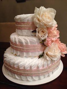 Shabby Chic Baby Shower Gift Diaper Cake #babyshowergift #diapercake #shabbychic More