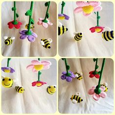 How to crochet a baby mobile – flowers and bees – Best Knitting 2020 Beginner Knitting Projects, Knitting For Beginners, Crochet Projects, Crochet Baby Mobiles, Crochet Mobile, Crochet Bee, Free Crochet, Crochet Flowers, Ravelry Crochet