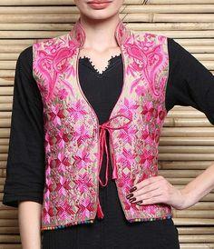 Multicolour #Phulkari Embroidered Semi-Silk #Jacket with #Dori