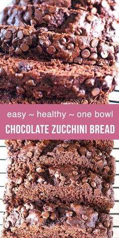 Healthy Snacks How to make chocolate zucchini bread with applesauce, no oil and no refined sugar in one bowl. Healthy Chocolate Zucchini Bread with simple real ingredients. Easy, moist and double chocolate zucchini bread recipe. Healthy Chocolate Zucchini Bread, Zucchini Bread Muffins, Gluten Free Zucchini Bread, Healthy Bread Recipes, Zucchini Bread Recipes, Healthy Baking, Healthy Snacks, Dessert Healthy, Oil