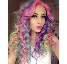 Would you like to have colorful wavy long hair this summer? Have a look at these designs if you want to have wavy long hair? With these designs you have the most beautiful hair style around you. Hair Color Dark, Cool Hair Color, Hair Colour, Pelo Multicolor, Birthday Hair, Beautiful Hair Color, Hair Dye Colors, Long Wavy Hair, Unicorn Hair