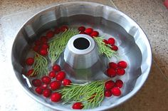 outdoor wreath (boil water twice before freezing so it will freeze clear)