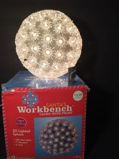 "3D Lighted Sphere with Frost 7"" 100 Clear Lights Holiday Outdoor Indoor Xmas #SantasWorkbench"