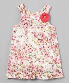 Loving this Pink & White Floral Empire-Waist Dress - Infant on #zulily! #zulilyfinds