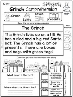 this comprehension passage is part of a grinch day freebie pinning teacher how the grinch stole christmas - How The Grinch Stole Christmas Activities