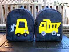 My Handmade Home: Yellow Toddler Backpack - Dump Truck and Bulldozer: So Happy T. Toddler Bag, Toddler Backpack, Little Backpacks, Kids Backpacks, Handmade Bags, Handmade Home, Sew Together Bag, Diy Backpack, Diy Purse