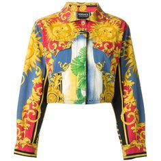 Multicoloured cotton sun baroque print jacket from Versace Vintage featuring a classic collar, long sleeves, button cuffs, a top button, a concealed front fast…