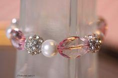 Bracelet Pink Pearls Rhinestones Breast Cancer by PickleStiksandCo, $22.00