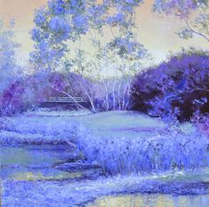Australian landscape painting in shades of purple and lavender. #purple