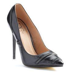 FFC New York Lony Women's Zipper High Heels, Black