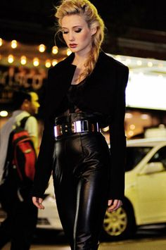 Midnight Cowboy by Kent Johnson. Belted high waisted black leather pants