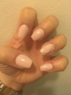 Short coffin nude nails. Sinful colors Taupe is chic with gold lines.