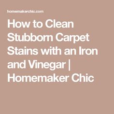 How to Clean Stubborn Carpet Stains with an Iron and Vinegar   Homemaker Chic