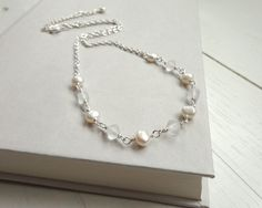 White pearls chain necklace frosted glass beads short by tline