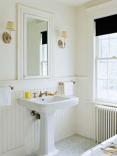 Wainscoting bathroom walls: wainscoting bathroom walls home design ideas an Upstairs Bathrooms, Downstairs Bathroom, White Bathroom, Bathroom Wall, Modern Bathroom, Small Bathroom, Bead Board Bathroom, Bungalow Bathroom, Bathroom Ideas