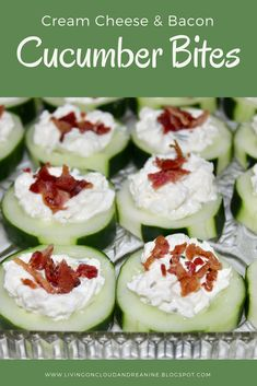 10 Most Misleading Foods That We Imagined Were Being Nutritious! Living On Cloud Nine: Cream Cheese and Bacon Cucumber Bites Cucumber Appetizers, Cucumber Bites, Bacon Appetizers, Cucumber Recipes, Bacon Recipes, Low Carb Recipes, Appetizer Recipes, Cooking Recipes, Cucumber Snack