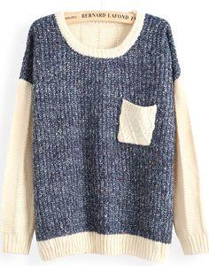 Blue Contrast Apricot Long Sleeve Pocket Sweater - Sheinside.com