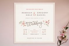 nice format Pink Rustic Wedding Invitation