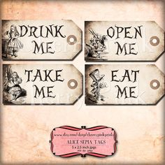 Alice in wonderland Tags Set 9, SEPIA ALICE tags, Alice in Wonderland decoration perfect for parties, presents and invitations.