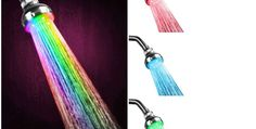 Requiring no batteries or power, this shower head utilizes the power of water pressure to light up its LEDs.  It comes with six colours, depending on the temperature.  It's available on Amazon for $39.99.