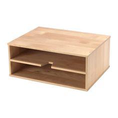 IKEA - FÖRHÖJA, Brievenbakje, Helpt je bij het ordenen van je papieren.Je kan 2 brievenbakjes op elkaar stapelen als je de ruimte in de boekenkast of op je bureau optimaal wilt benutten.De zachte kunststof doppen beschermen de ondergrond tegen krassen en zorgen dat het brievenbakje stevig staat.Massief hout is een slijtvast natuurmateriaal.