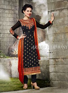 Adorable Black Georgette Party Wear Salwar Kameez