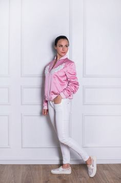 Reversible Bomber by Chantilli Collection features two side pockets on both sides, baseball collar, reversible, silver zip and ribbed cuffs and hem. Pink Bomber Jacket, Bomber Jackets, Antique Roses, Mother And Baby, White Jeans, Twins, Kids Fashion, Patches, Smooth