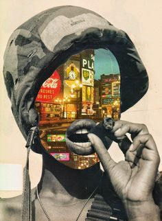 The Home Guard Another political collage is showing a woman in an army outfit smoking a cigar. but with no face and city lights. This poster may be supporting feminism during world war Protest Kunst, Protest Art, Collage Kunst, Collage Art, Photomontage, Dadaism Art, Face Collage, Political Art, A Level Art