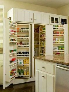 Kitchen Pantry Design Ideas Built In Pantry Shelving Kitchen Pantry Design, Kitchen Pantry Cabinets, Kitchen Organization, New Kitchen, Kitchen Decor, Organized Kitchen, Organization Ideas, Kitchen Ideas, Awesome Kitchen