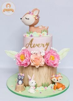 Animals Birthday Cake - # Baby Cakes - From my HoMe Baby Cakes, Baby Shower Cakes, Girl Cakes, Baby Girl Shower Themes, Baby Shower Decorations, Animal Birthday Cakes, Baby Birthday Cakes, 1st Birthday Parties, 1st Birthday Cake For Girls