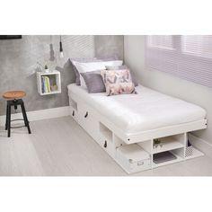 Latitude Run Pharr Storage Platform Bed Size: Twin, Colour: Off White Bed Storage, Storage Spaces, Room Ideas Bedroom, Room Decor, Bedroom Inspo, Upholstered Platform Bed, Bed Reviews, Adjustable Beds, Panel Bed