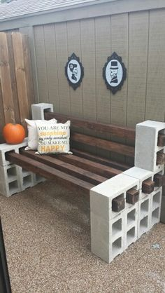 Completed Cinder Block Bench