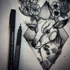 #deer #flowers #ink #elcuervoink #tattoo