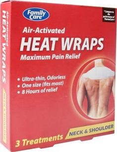 Family Care Air Activated Heat Wraps for Neck & Shoulder Bulk Case of 36. Up to 8 hours of pain relief. Ultra-thin and odorless air activated heat wraps for maximum relief. 12 packages per case. Air activated. Family Care Air Activated Heat Wraps for Neck & Shoulder. Family Care Air-Activated Heat Wrap provides up to 8 hours of maximum pain relief for the neck and shoulder area. 3 treatments per package. Ultra-thin and odorless. One size fits most. Three treatments for neck and...