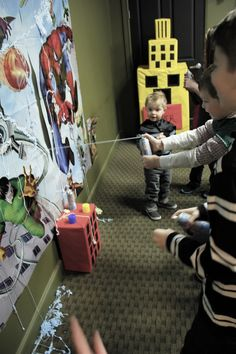 One giant Poster + Five cans of Silly String. = Web-slinging practice.  | Super Hero birthday party